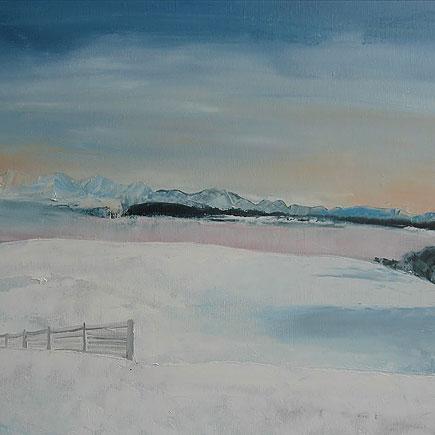 Hiver sur la colline Gurten (2012, Huile sur toile de lin, 72 x 53 cm)